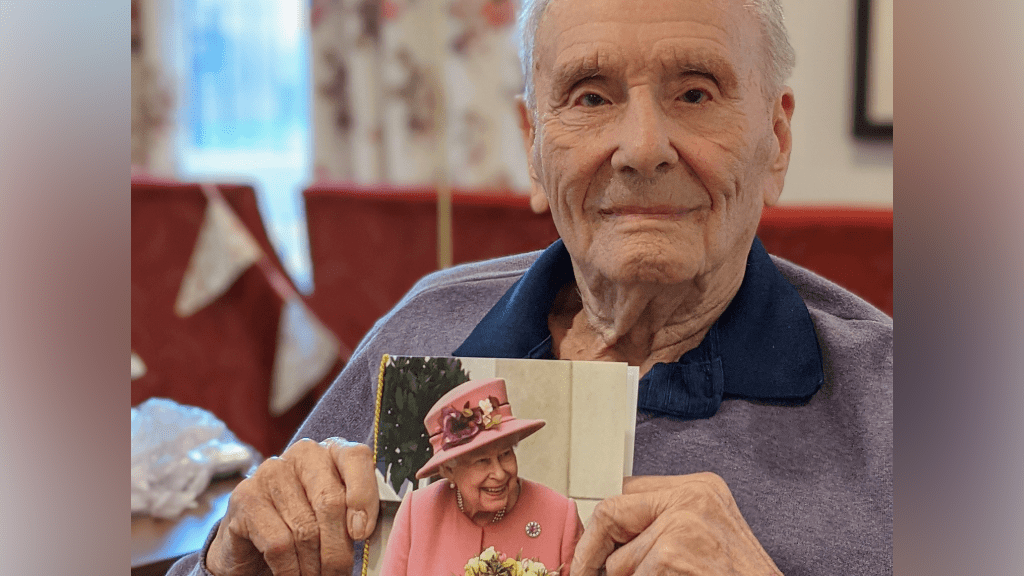 Geoffrey Large celebrating his 100th birthday at Brendoncare Otterbourne Hill